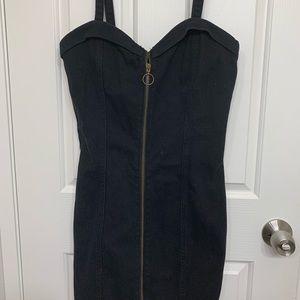 Forever 21 Zip Front Strappy Denim Dress